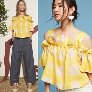 Anthropologie Whit Yellow Mariposa Top Linen Large